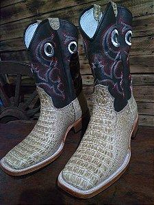 Bota texana cano normal solado de couro imitação de jacaré
