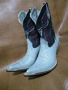 Bota texana bico fino aladim solado de couro cano normal couro imitação de cobra