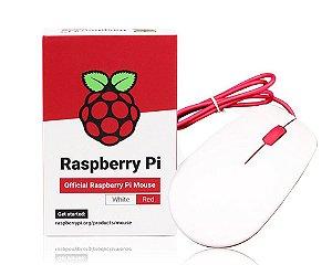 Mouse Oficial Raspberry Pi Vermelho e Branco