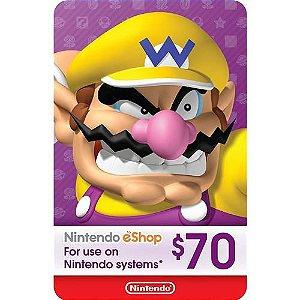 Cartão Nintendo Eshop 70 Dólares USA