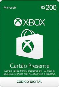 Cartão Presente Pré Pago Xbox Live R$ 200 Reais