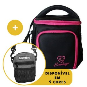 Kit Térmica Compacta Black Rosa Emborrachada + Shoulder Bag