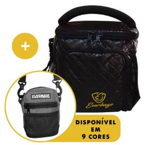 Kit Térmica Compacta Matelassê Preto Ouro  + Shoulder Bag