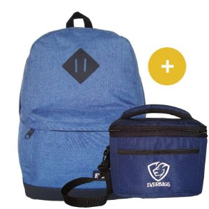 Kit Mochila School Azul + Fit Lancheira Azul Everbags