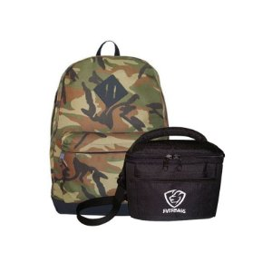 Kit Mochila School Camuflado Marrom + Fit Lancheira Camuflada Everbags