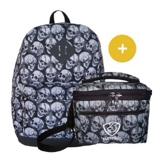 Kit Mochila School Caveira + Fit Lancheira Caveira Everbags