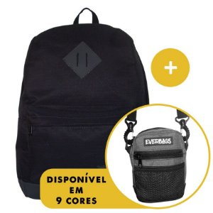 Kit Mochila School Black + Shoulder Bag