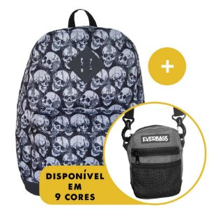 Kit Mochila School Caveira + Shoulder Bag