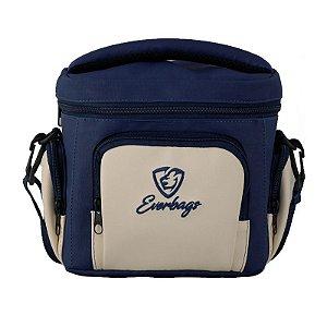 Bolsa Térmica Fitness Master Azul com Creme