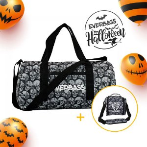 Kit Halloween Caveira - Mala de Treino + Bolsa Térmica Basic
