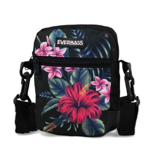 Shoulder Bag Black Floral Everbags