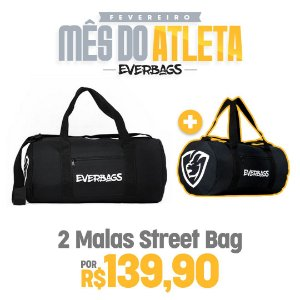 KIT 2 Malas de Treino Streetbag - Black + Black