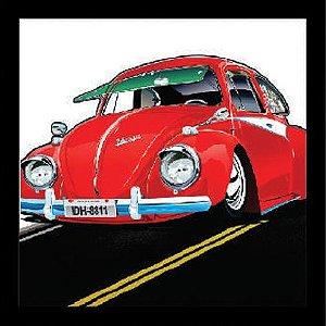 """Quadro Decorativo Vazado 30x30cm """"Fusca Red"""" - ECOMIX"""
