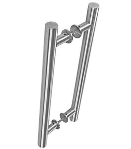 """Puxador Tubo Reto H Alça Dupla (3008 - 1"""") 60cm Alumínio Cromado - VESFER"""