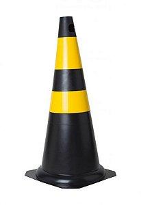 Cone De Sinalização Rígido 75 Cm - Preto/Amarelo - KTELI