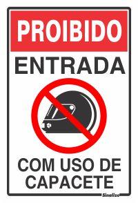 Placa Pvc 20 X 30 Proibida Entrada Com Capacete - Sinalize