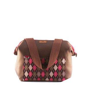 Mala de Viagem Anini Marrom com Prisma Pink  M