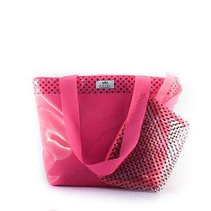 Bolsa Silicone Anini Pink e Poa Pretro + Necessaire Poa e Pink