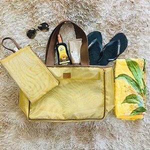 Bolsa Praia Rossella em Tela Dourada + Clutch Anini