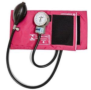 Aparelho de Pressão Adulto Nylon Fecho Velcro Rosa - P.A. MED