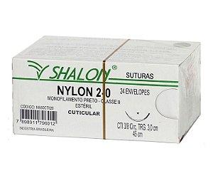 Fio de Sutura Nylon Nº 2-0 com Agulha 3,0CM - Shalon