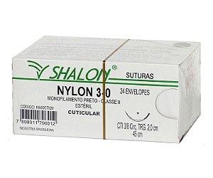 Fio de Sutura Nylon Nº 3-0 com Agulha 2,0CM - Shalon