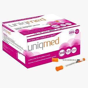 Seringa para Insulina 0,3ML com Agulha 31G 6x0,25mm (10UN) - UNIQMED