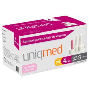 Agulha para Caneta de Insulina 4MM 33G (100UN) - Uniqmed