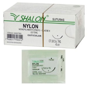 Fio de Sutura Nylon Monofilamento Preto Shalon - 1 Unidade