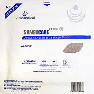 Curativo de Alginato de Cálcio Com Prata SilverCare 10cm x 10cm Vitamedical - 1 Unidade