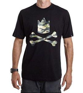 Camiseta Logo Camuflado - Preta