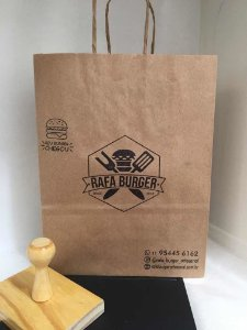 Carimbo de Madeira Ideal para Sacola Kraft - PERSONALIZADO 9 cm x 14