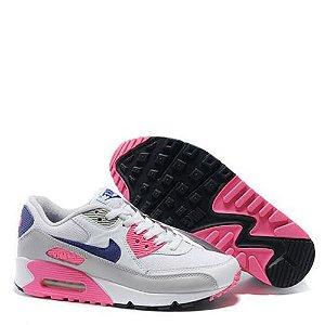 Tênis Nike Air Max 90 Feminino Branco / Cinza / Rosa