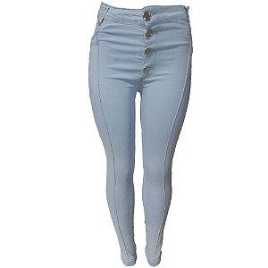 0ccb942e6 Calça Jeans Feminina Azul Claro Cintura Alta com Listras e Lycra