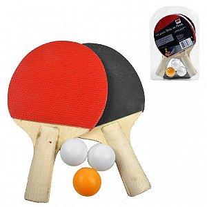 Kit Ping Pong - 2 Raquetes e 3 Bolinhas - Top Rio