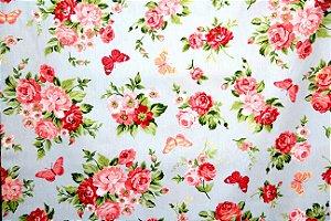 Tecido Círculo Rosas e Borboletas Pequenas  2097 - 0,50cmx1,46 Mts