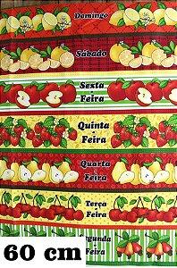 Tecido Círculo Barrado Frutas Semaninha Cor 2061- 0,60cmx1,46 Mts