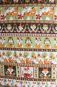 Tecido Círculo Ref 351997 Cor 1988- Raposas - 0,50cmx1,46 Mts