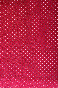 Tricoline 100% algodão Poá - Vermelho com bolinhas brancas Circulo -1584 - 0,50cmx146cm