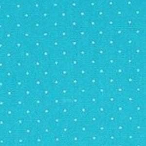 Tecido Tricoline Círculo Poá Azul Turquesa e branco Cor 1625 - 0,50cmx1,46 Mts