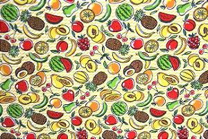 Tecido Tricoline Círculo mini frutas tropicais 2020- 0,50cmx1,46 Mts