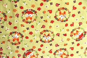 Tecido 100% algodão Círculo - Raposinhas - 1992 - 0,50cmx1,46 Mts