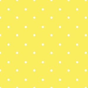 Tricoline 100% algodão Poá - Amarelo com bolinhas brancas Circulo 1608 - 0,50cm
