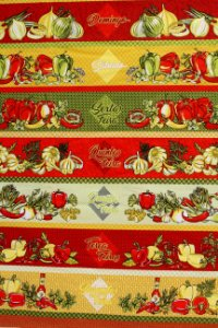Tecido Círculo Barrado Legumes Semaninha Cor 2163 - 0,60cm x 1,46 Mts