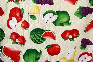 Tecido Tricoline Círculo Frutas Grandes na Mesa - cor 2170 - 0,50cm X 1,46 Mts