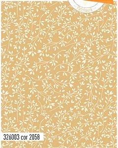 Tecido Círculo Floral BEJE com BRANCO - cor 2058 - 0,50cm X 1,46 Mts