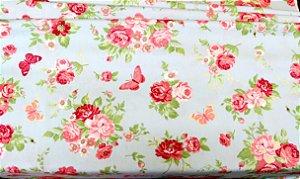 Tecido Círculo Rosas e Borboletas Grande  2096 - 0,50cmx1,46 Mts