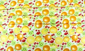 Tecido Tricoline Círculo Frutas Cítricas - 2183 -  0,50cmx1,46 Mts