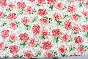 Tecido Tricoline Círculo Rosas Delicadas- 2181 - 0,50cmx1,46 Mts