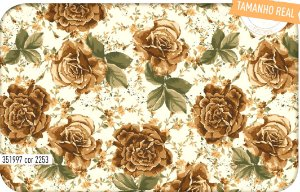 Tecido Círculo Buque de Rosas Bege - 2253 - 0,50cmx1,46 Mts